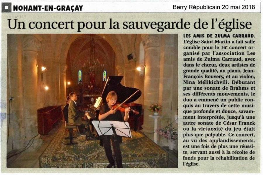 Nohant en Graçay concert dans l'église